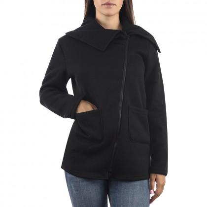 Дамска черна жилетка с асиметричен цип
