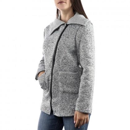 Дамска сива жилетка с асиметричен цип