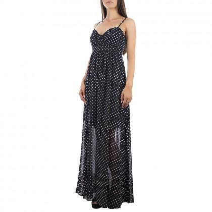 Дамска дълга рокля на точки с тънки презрамки