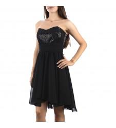 Дамска елегантна черна рокля без презрамки с пайети в размер 36/S