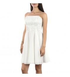 Дамска бяла рокля без презрамки с дантела