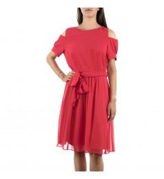 Коктейлна червена дамска рокля до коляно 42 и 44 размер