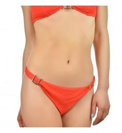 Дамско долнище бански тип бикини в коралов цвят и златисти елементи размер 40/L