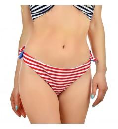 Дамско долнище бански тип бикини в морски стил на бели и червени ивици размер 40/L и 42/XL