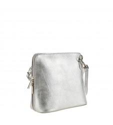 Сребриста дамска чанта с дълга дръжка и цип