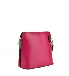 Малка розова чантичка с цип и дълга дръжка