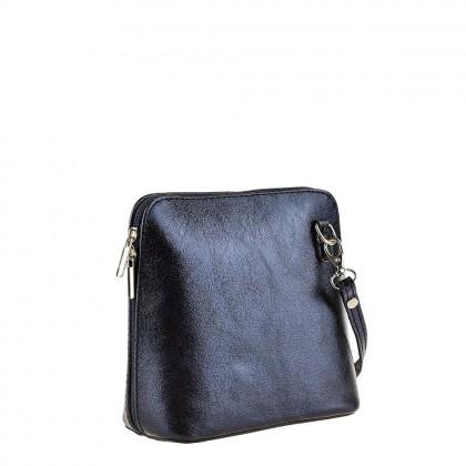 Тъмносиня малка чанта с дълга дръжка