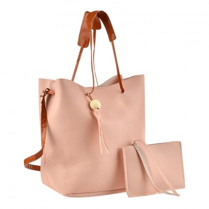 Дамска розова чанта с несесер и пискюл