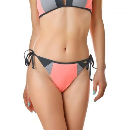Дамско долнище бански тип бикини в нежен розов цвят и сиви акценти размер 40/L