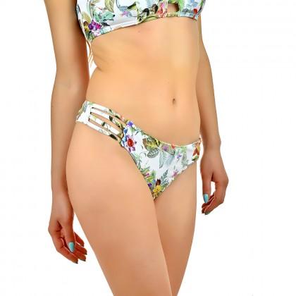 Дамско долнище бански тип бикини в свеж тропически принт размер 40/L