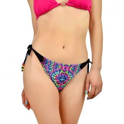 Дамско долнище бански тип бикини в многоцветен мраморен принт и връзки размер 42/XL