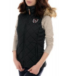 Дамски черен елек с пухена качулка 36 размер