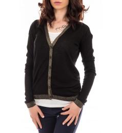 Черна дамска плетена жилетка със златист кант размер XS