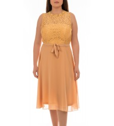 Intimuse дамска коктейлна рокля без ръкави с дантела цвят праскова