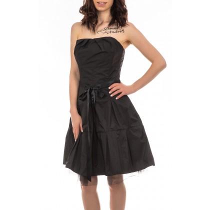 Swing черна дамска рокля със сатенен колан