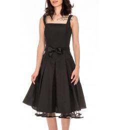 Swing черна дамска рокля със сатенен колан и тюл