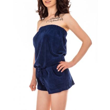 Дамски тъмно син къс гащeризон тип бюстие размер S