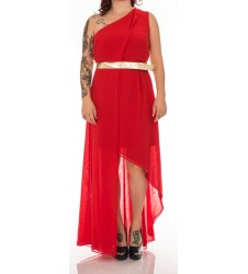 Swing червена дамска рокля с голо рамо