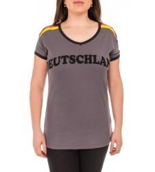 Дамска тениска Deutschland в сив цвят размер L