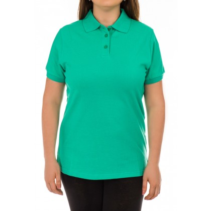 Дамска тениска с яка и копчета зелена размер M