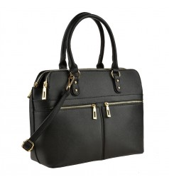Черна дамска чанта със златисти ципове