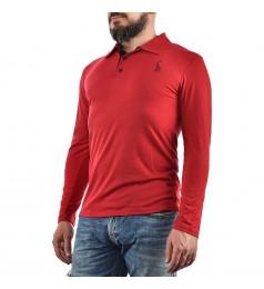 Мъжка червена блуза с дълъг ръкав и яка