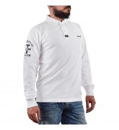 Мъжка бяла блуза с яка и щампа