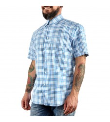 Мъжка спортно-елегантна риза с къс ръкав каре размер М/40 и L/42